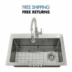 All-in-one Tight Radius Acier Inoxydable 33''18-gauge Single Kitchen Sink Glacier