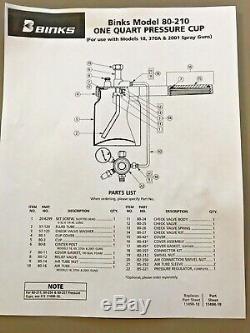 Binks # 80-210 Une Assemblée Coupe Pression Avec Régulateur D'air Pintes Et Jauge