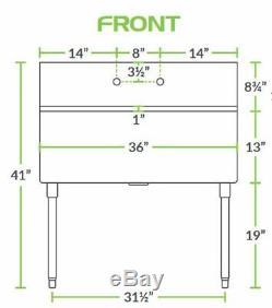 Calibre 16 Un Compartiment En Acier Inoxydable Utilitaire Commercial Évier 36 X 21 X 14