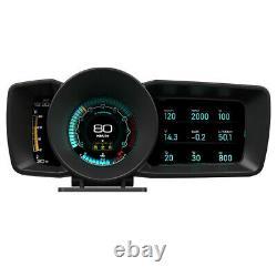 Double Écran Voiture Obd2 + Gps Digital Hud Head-up Display Multi Function Gauge