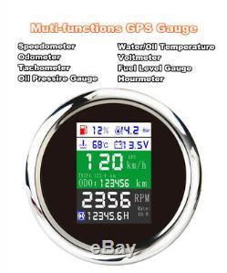 Gps Multifonction Gauge Voiture Marine Bateau Compteur De Vitesse Compteur Kilométrique Tacho Pression D'huile