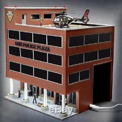 Menards O Gauge One Police Plaza Bâtiment Avec Hélicoptère Animé Construit À L'avance