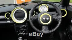 Mk2 Mini Cooper / S / One R55 R56 R57 R58 R59 Jaune Tableau De Bord Intérieur Anneaux Kit