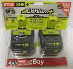 Nouveau Ryobi P122 P108 Pile Lithium 18v 18 Volt One + Jauge De Carburant Haute Capacité 4ah