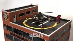 O Gauge One Police Plaza Bâtiment Avec Hélicoptère Animé Construit À L'avance