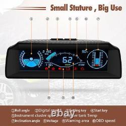 Obd2 Voiture Hud Dash Head Up Affichage Speedomètre Slope Meter Inclinomètre Tension