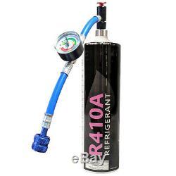Réfrigérant R410a À Usage Unique 28,2 Oz One Step Can Avec Manomètre Et Tuyau 1/4 Connexion