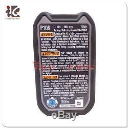 Ryobi P122 P108 Pile Lithium 18v 18 Volt One + Capacité Élevée 4ah Avec Jauge À Essence